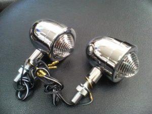 汎用【 チョッパー型 丸ウインカーランプ 】メッキ/クリアレンズ 2個セット