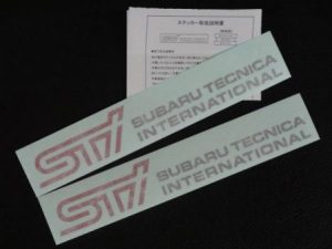 STI 純正 ステッカー 2枚入り チェリーレッド スバル SUBARU
