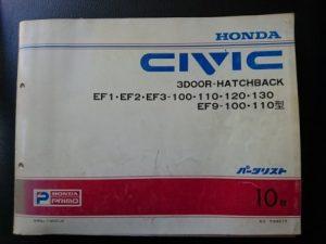 CIVIC (シビック) 3ドアハッチバック EF1・2・3・EF9 平成8年1月発行 10版